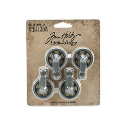 Tim Holtz Mini Pulley Wheels 4 stuks