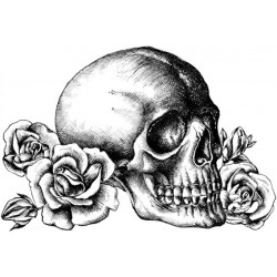 Crafty individuals Unmounted rubber stempel Skull n Roses CI-529